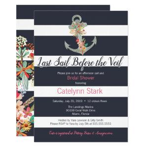 Nautical Stripe Floral Anchor Bridal Shower Invitation starting at 2.55