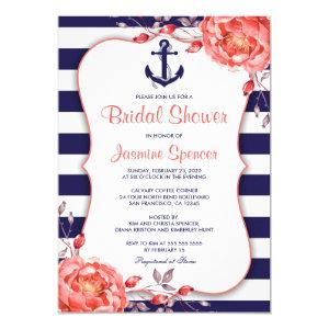 Nautical Striped Navy Blue And Coral Bridal Shower Invitation starting at 2.65