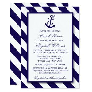Nautical Stripes & Navy Blue Anchor Bridal Shower Invitation starting at 2.51