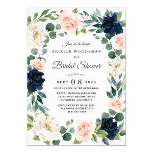 Navy and Blush Pink Watercolor Bridal Shower Invitation starting at 2.25