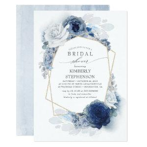 Navy and Dusty Blue Floral Modern Bridal Shower Invitation starting at 2.26