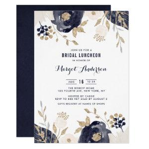 Navy and Ivory Flowers Gold Foil Bridal Luncheon Invitation starting at 2.40