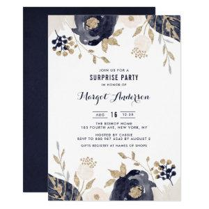Navy and Ivory Flowers Gold Foil Surprise Party Invitation starting at 2.40