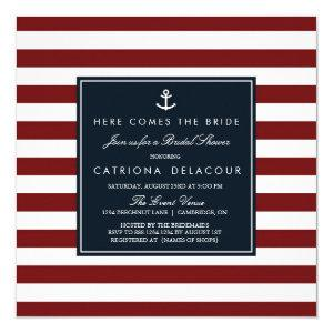Navy and Red Nautical Bridal Shower Invitation starting at 2.30