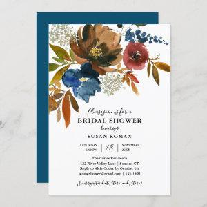 Navy and Rust Floral Bridal Shower White Invitation starting at 2.40
