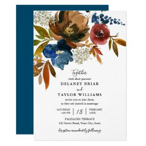 Navy and Rust Watercolor Flowers Wedding Invitation starting at 2.15