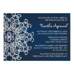 Navy and Silver Indian Inspired Bridal Shower Invitation starting at 2.66