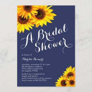 Navy and Yellow Sunflowers Bridal Shower Invitation starting at 2.40