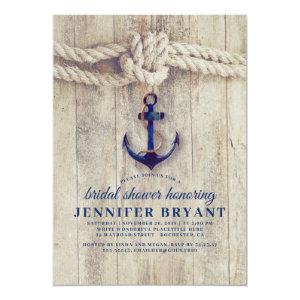 Navy Blue Anchor Rustic Nautical Bridal Shower Invitation starting at 2.51