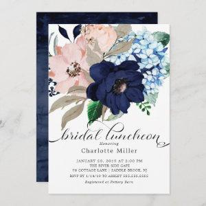 Navy Blue and Blush Flowers Bridal Luncheon Invitation starting at 2.51
