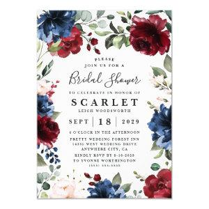 Navy Blue and Burgundy Blush Pink Bridal Shower Invitation starting at 2.00