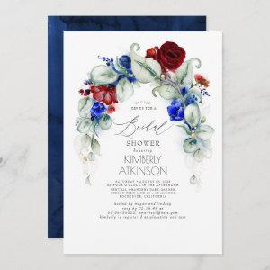 Navy Blue and Burgundy Red Floral Bridal Shower Invitation starting at 2.51