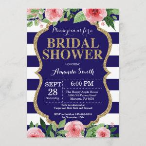Navy Blue and Gold Bridal Shower Invitation Floral starting at 2.35