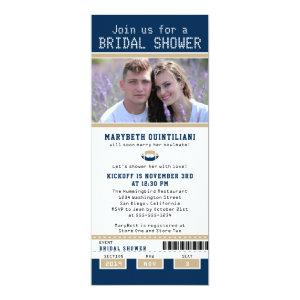 Navy Blue and Gold Football Ticket Bridal Shower Invitation starting at 2.82