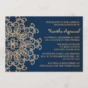 Navy Blue and Gold Indian Style Bridal Shower Invitation starting at 2.66