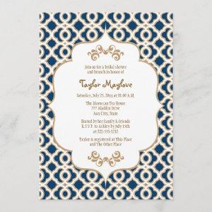 Navy Blue and Gold Moroccan Bridal Shower Invites starting at 2.66