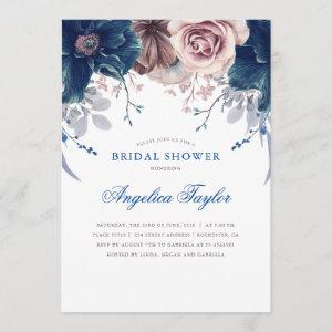 Navy Blue and Mauve Floral Bridal Shower Invitation starting at 2.40