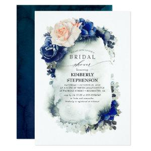 Navy Blue and Peach Floral Bohemian Bridal Shower Invitation starting at 2.51