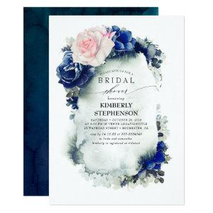 Navy Blue and Pink Floral Bohemian Bridal Shower Invitation starting at 2.51