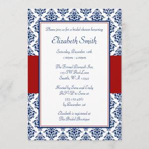Navy Blue and Red Damask Bridal Shower Invitation starting at 2.51