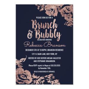 Navy Blue and Rose Gold Floral Brunch and Bubbly Invitation starting at 2.61