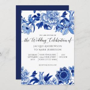 Navy Blue and White Asian Influence Wedding Invitation starting at 2.40