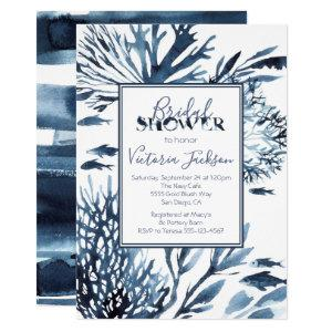 Navy Blue and White Coral Reef Bridal Shower Invitation starting at 2.40