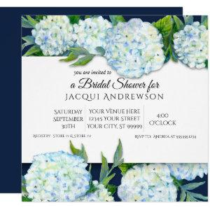 Navy Blue and White Hydrangea Floral Bridal Shower Invitation starting at 2.40