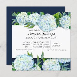 Navy Blue and White Hydrangea Floral Bridal Shower starting at 2.40