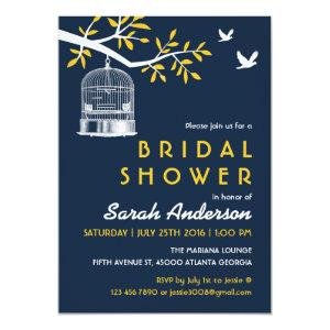 Navy Blue and Yellow Bird Cage on Tree Invitation starting at 2.56