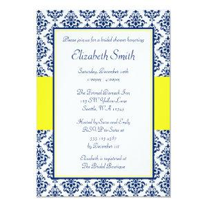 Navy Blue and Yellow Damask Bridal Shower Invitation starting at 2.51