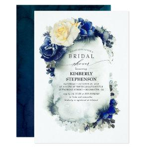 Navy Blue and Yellow Floral Bohemian Bridal Shower Invitation starting at 2.51