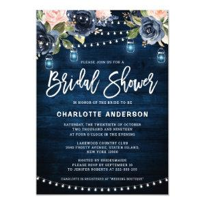 Navy Blue Blush Floral String Light Bridal Shower Invitation starting at 2.40