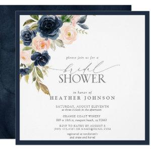 Navy Blue & Blush Floral Watercolor Bridal Shower Invitation starting at 2.30