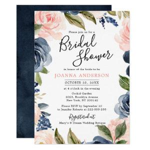 Navy Blue Blush Pink Rose Boho Bridal Shower Invitation starting at 2.15
