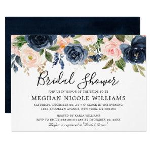 Navy Blue Blush Pink Rose Boho Bridal Shower Invitation starting at 2.40