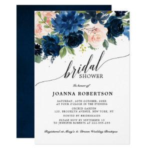 Navy Blue Blush Pink Rose Botanical Bridal Shower Invitation starting at 2.40