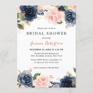 Navy Blue Blush Watercolor Floral Bridal Shower In Invitation starting at 2.40