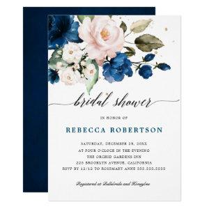 Navy Blue Blush Watercolor Floral Bridal Shower Invitation starting at 2.40