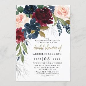 Navy Blue Burgundy Blush Pink Floral Bridal Shower Invitation starting at 2.25