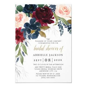 Navy Blue Burgundy Blush Pink Floral Bridal Shower Invitation starting at 2.00