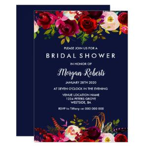 Navy Blue Burgundy Floral Bridal Shower Invitation starting at 2.40