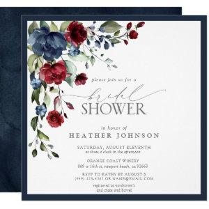 Navy Blue Burgundy Floral Watercolor Bridal Shower Invitation starting at 2.30