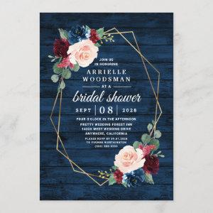 Navy Blue Burgundy Gold Blush Pink Bridal Shower Invitation starting at 2.25