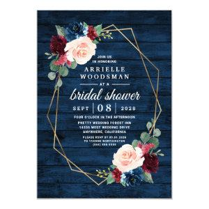 Navy Blue Burgundy Gold Blush Pink Bridal Shower Invitation starting at 2.00
