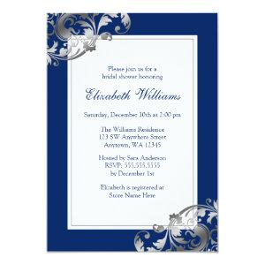 Navy Blue Faux Silver Flourish Swirl Bridal Shower Invitation starting at 2.51