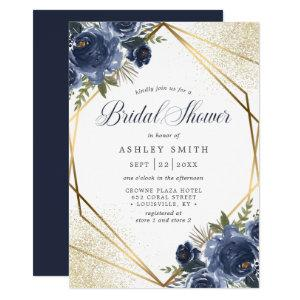 Navy Blue Floral Gold Geometric Bridal Shower Invitation starting at 2.55