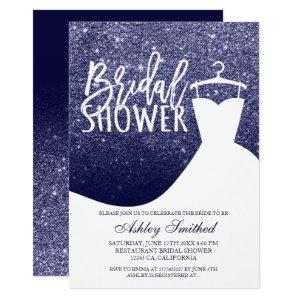 Navy blue glitter elegant chic dress Bridal shower Invitation starting at 2.40