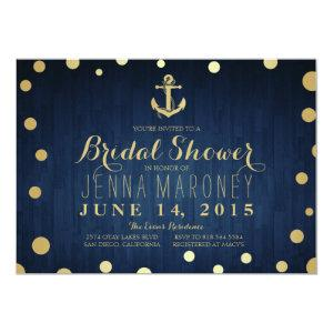 Navy Blue Gold Foil Anchor Nautical Bridal Shower Invitation starting at 2.51