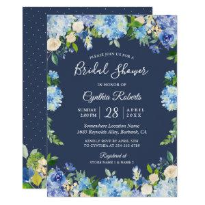 Navy Blue Hydrangea Floral Gorgeous Bridal Shower Invitation starting at 2.40